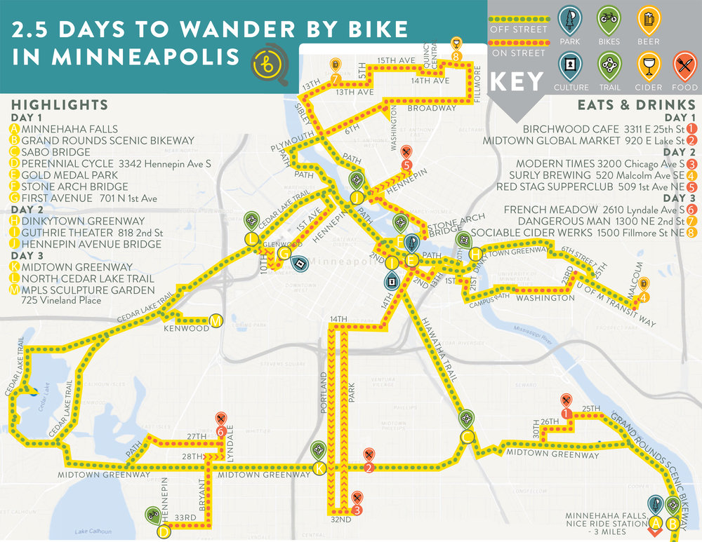 "Free cultural bike map and ""2.5 Days to Wander"" travel guide."