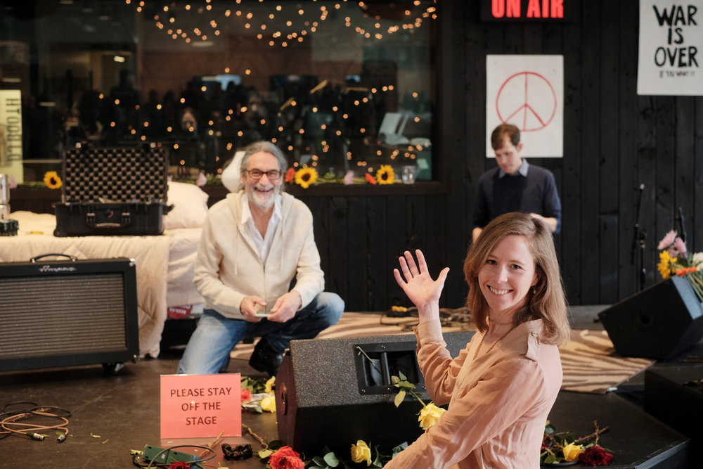 "Me showing my love for KEXP's DJ, Kevin Cole, at the ""Bed In""."