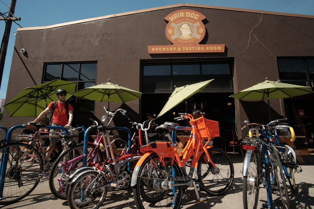 Hair of the Dog Brewery in Portland is always packed with bikes!