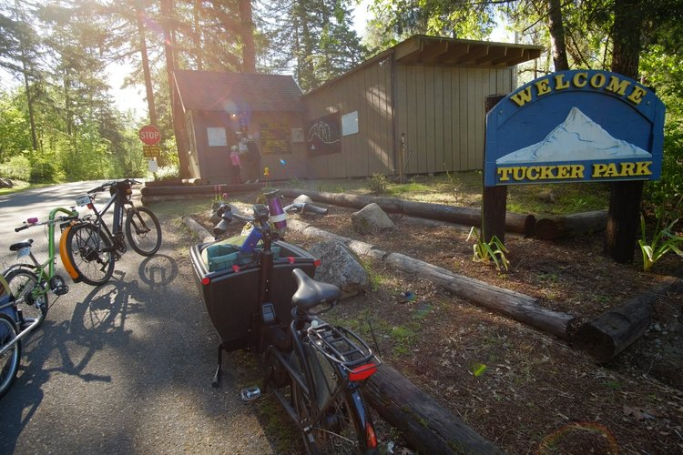 Bike Camping at Tucker Park, a 5 mile bike ride from downtown Hood River.
