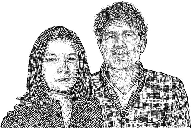 James Murphy & Christina Topsøe  Partners in the Four Horsemen wine bar and restaurant (Mr. Murphy is also the frontman for LCD Soundsystem). Illustration by Wall Street Journal.