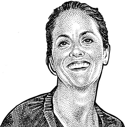 Maria Cornejo  Founder and creative director of Zero+Maria Cornejo. Illustration by Wall Street Journal.