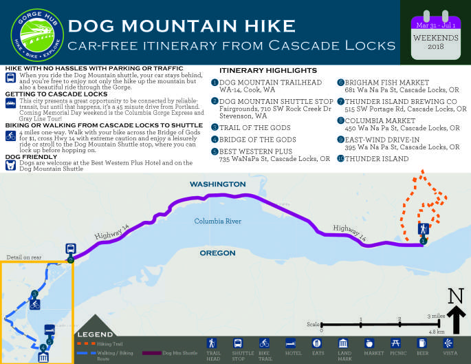 Map that I designed for the car-free itinerary for Dog Mountain Hike.
