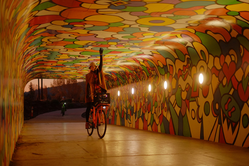Colorado Avenue bike tunnel mural. Photo by Kyle Ramey of Bikabout