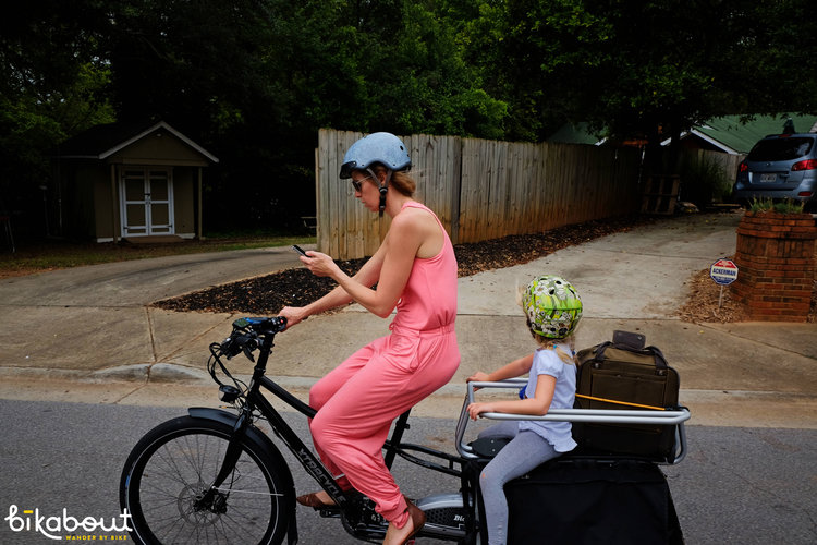 Using an Xtracycle to sightsee hilly Atlanta, haul luggage and our daughter and get photography for Bikabout's travel guide #ebikesarecheating