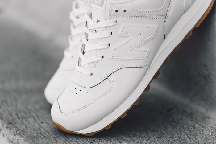 new balance 574 white gum on feet