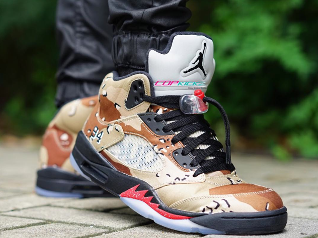"b2cb256464b1 On-Feet Photos Of The Supreme x Air Jordan 5 ""Camo"" — Sneaker Shouts"