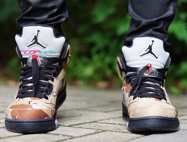 reputable site e5ca8 d6a74 desert-camo-air-jordan-5-supreme-on-feet-