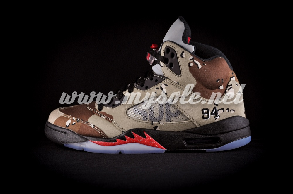 """940dca2cd50 Here's The New Images Of The Supreme x Air Jordan 5 """"Camo"""" — Sneaker ..."""