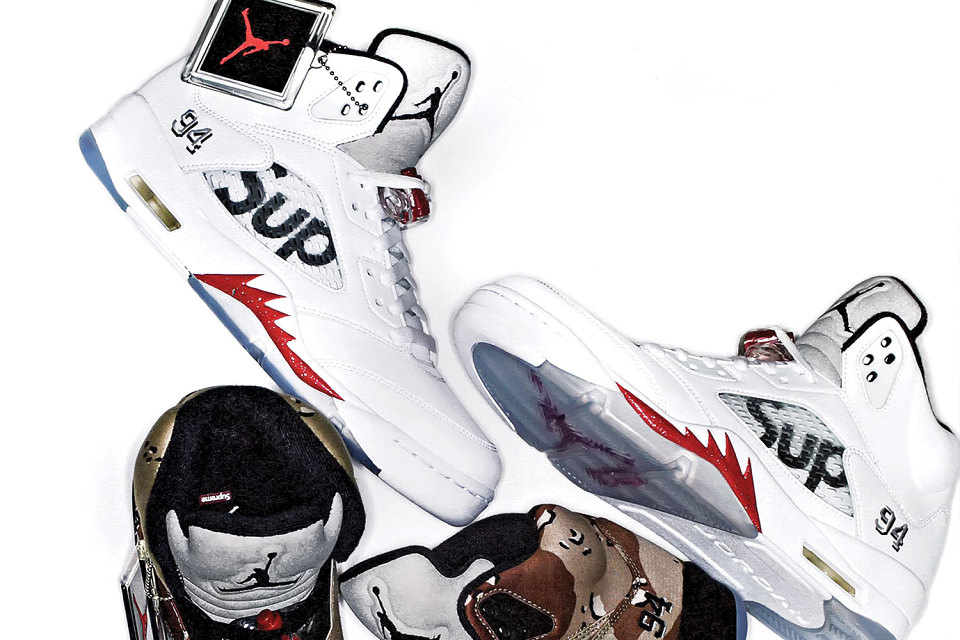 adfea4249b27 Shoe Master Magazine Previews the Supreme x Air Jordan 5 Collection ...
