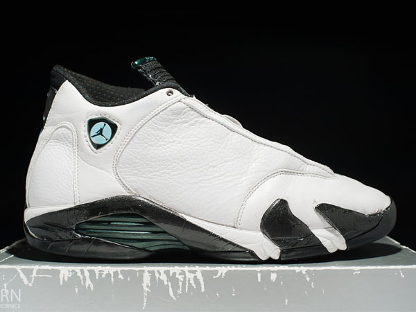 "OG pair of the Air Jordan 14 ""Oxidized Green"" from 1999"