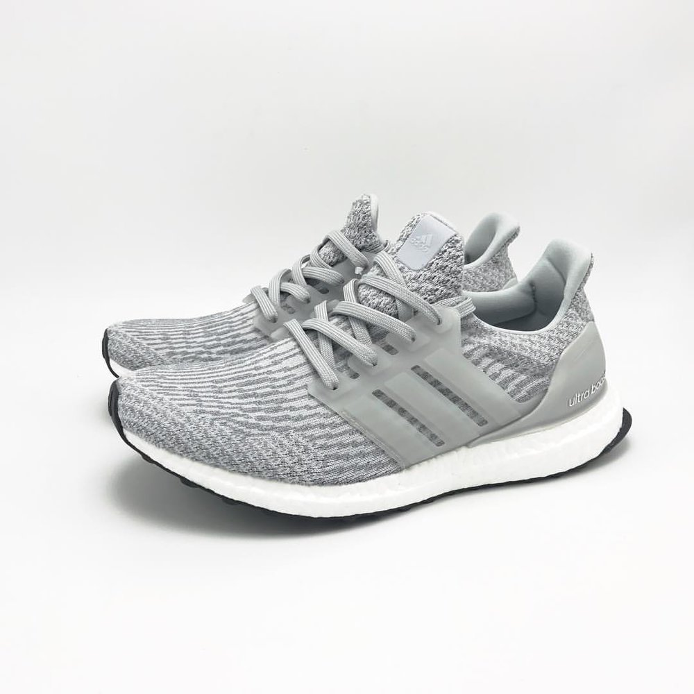 Adidas Ultra Boost 3.0 Gray Leather Cage Sneaker Socialite