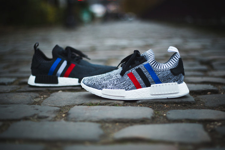 Adidas Men 's NMD R1 PK Prime Knit Tri Color White