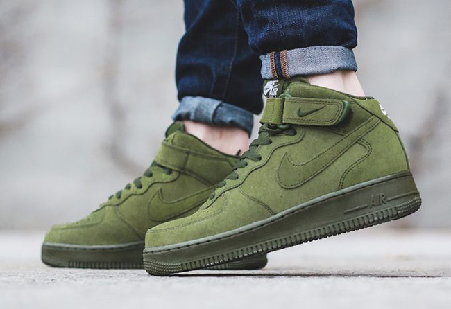 Nike Olive Green Suede Air Force One AF1 Mid WB AH0757 202 Toddler 8c Deadstock