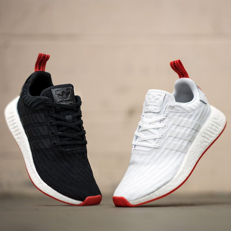 Men NMD R2 Sneakers Black Red Sz 9.5 New Arrival Banananina