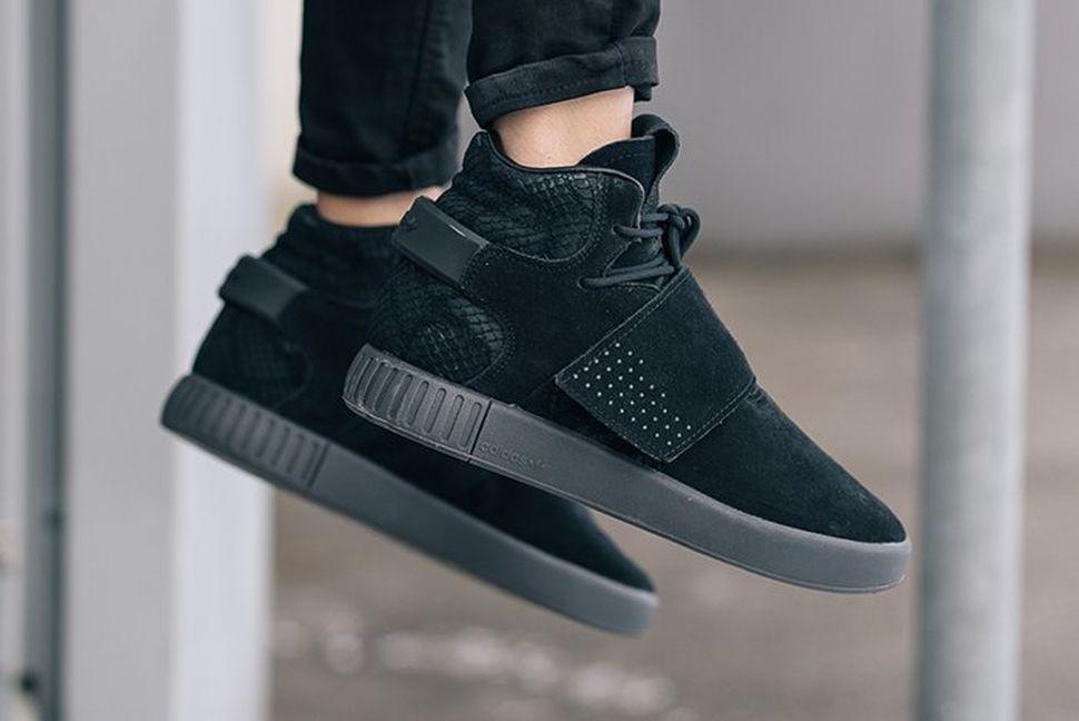 wholesale dealer 1d0b3 9738a adidas tubular invader strap black leather