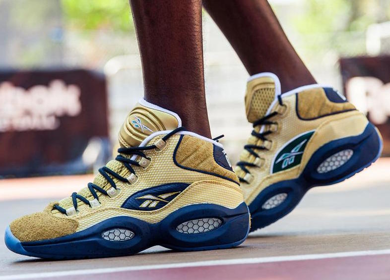 Reebok Basketball Shoes - Mens Reebok Question Mid EBC in Matte Gold  Collegiate Navy White Flannel 6f2c42b8d