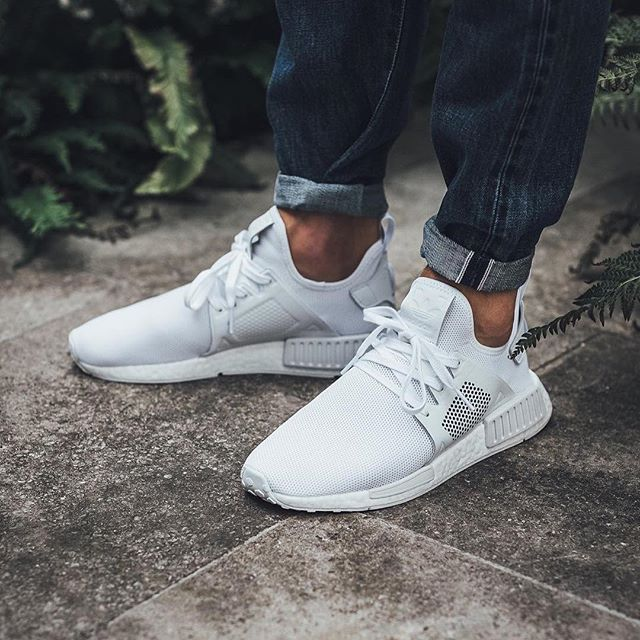 Now Available Adidas Nmd Xr1 Leather Triple White Sneaker Shouts