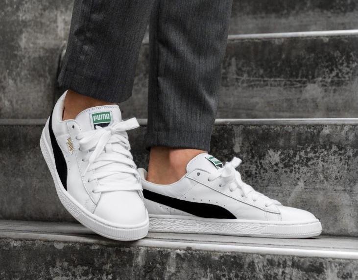 Puma Basket Classic Sneakers In White And Black | Ropa puma