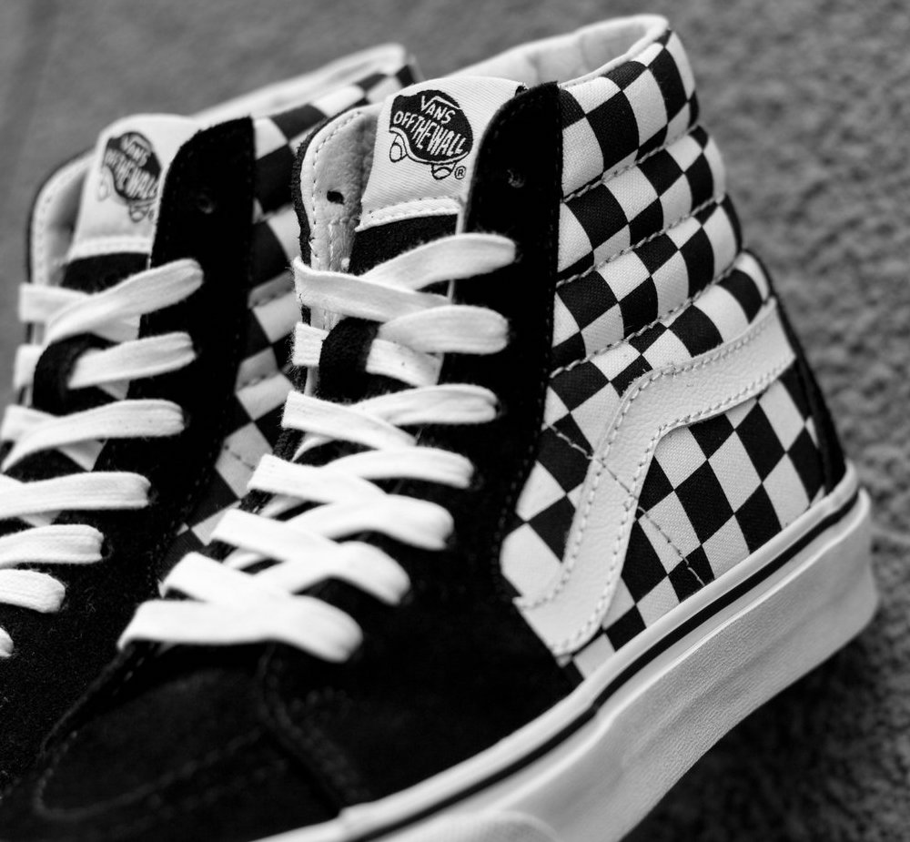 vans sk8 hi all over checkerboard