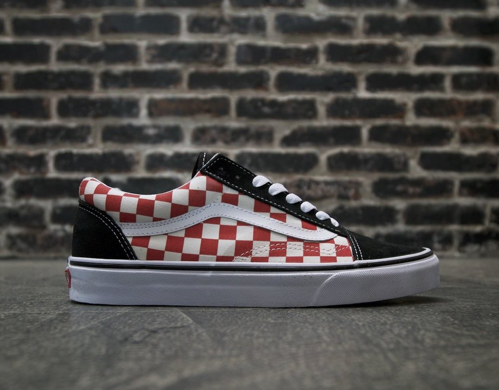 vans checkerboard black and red