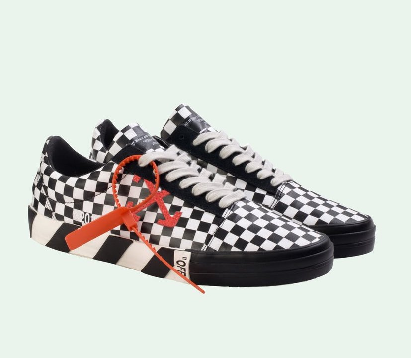 now available off white vulc checkered sneaker sneaker shouts