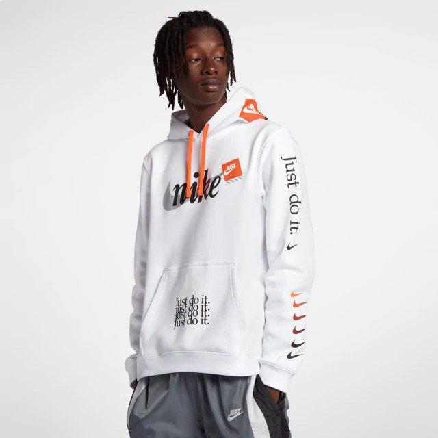 salchicha entidad Arte  Now Available: Nike Sportswear Just Do It Hoodie in White — Sneaker Shouts