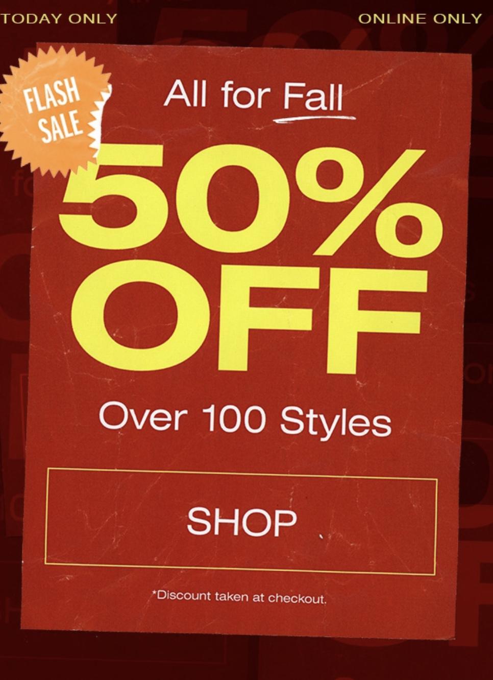 ba7582aac01a Flash Sale: 50% OFF 100+ Select Items — Sneaker Shouts