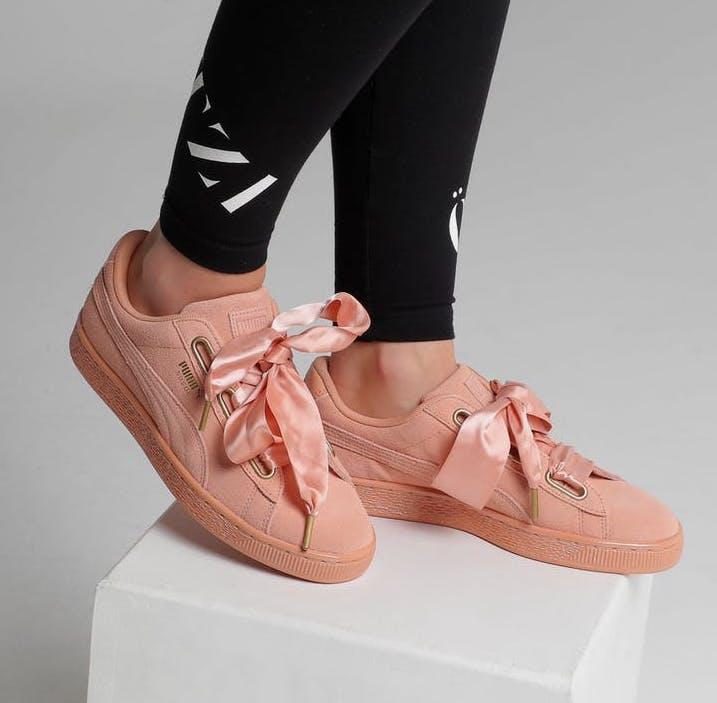 puma basket heart peach