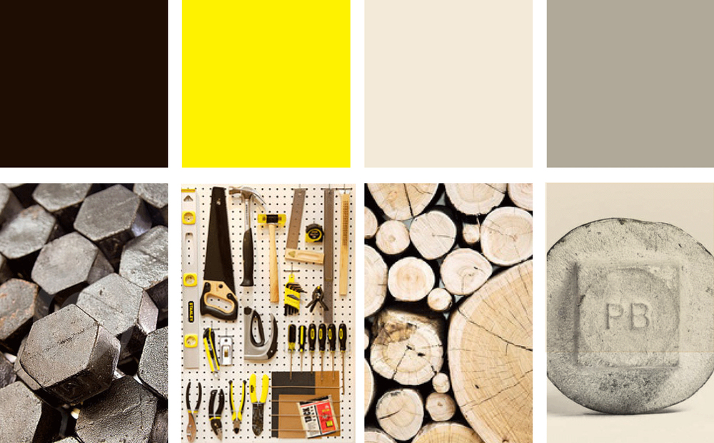 Our colors reference tools, wood, and industrial materials.