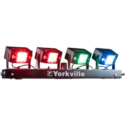 Yorkville lp led4 stage lighting system doo wop shop the yorkville lp led4 stage lighting bar will give you all the stage lighting you need without the weight and heat of the old incandescent par can sets mozeypictures Gallery