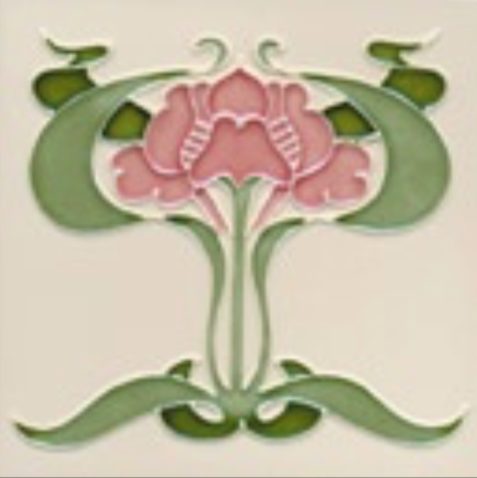 Art Nouveau Tile Decor Iris 152x152mm Dog Rose on Cream