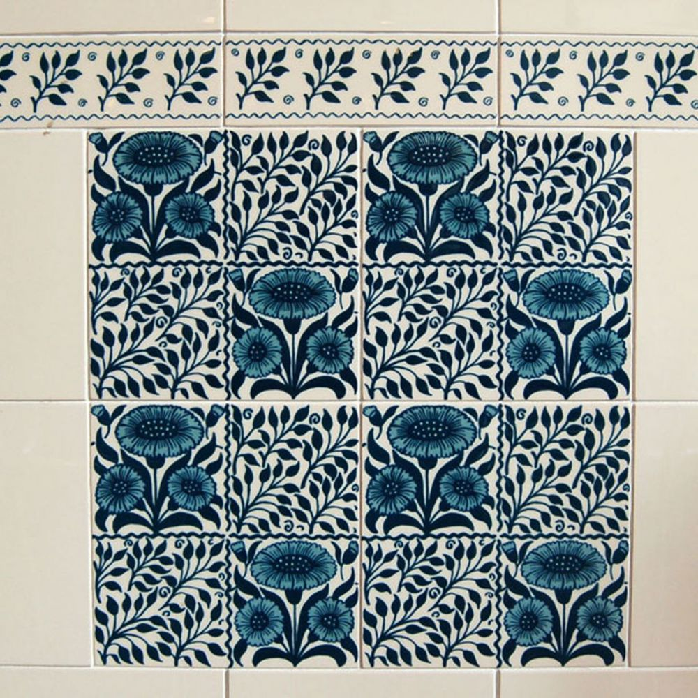 Victorian Oreton blue Classic Printed decorative tiles 152x152mm