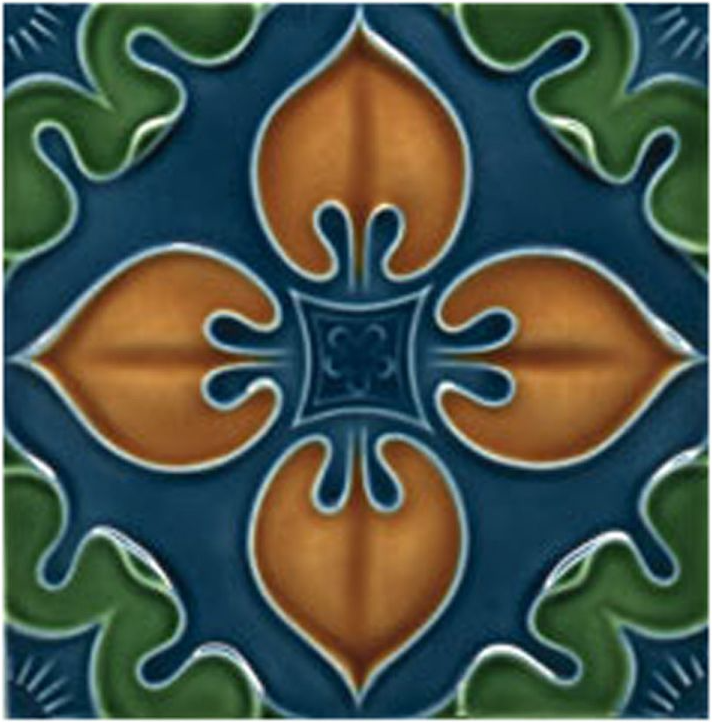 Victorian Tile Decors Traditional Embossed Benthall 152x152mm Chestnut Laurel Deep Blue