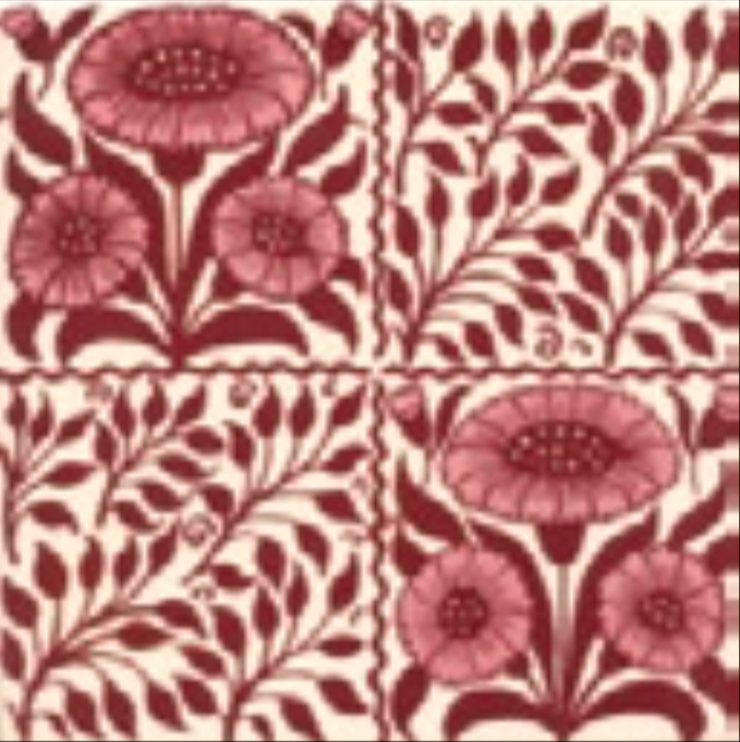 Victorian Tile Classic Printed Oreton 152x152mm Burgundy