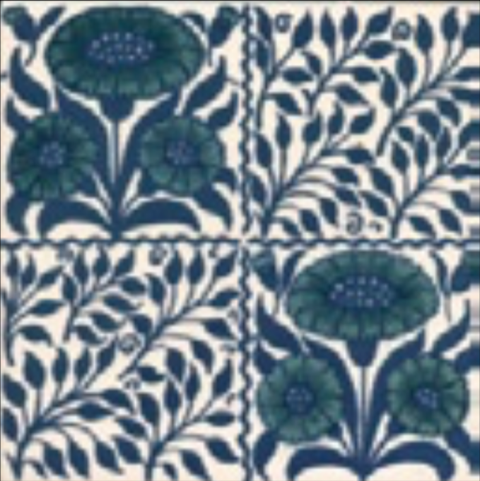 Victorian Tile Classic Printed Oreton 152x152mm Deep Blue
