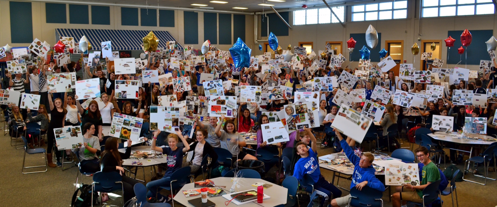 (Hampton, NH) -- The largest UROCK Vision Board Party ever assembled!  Winnacunnet High School, Class of 2019.  Epic photo captured by Miles C. Woodworth of Seacoast Flash.