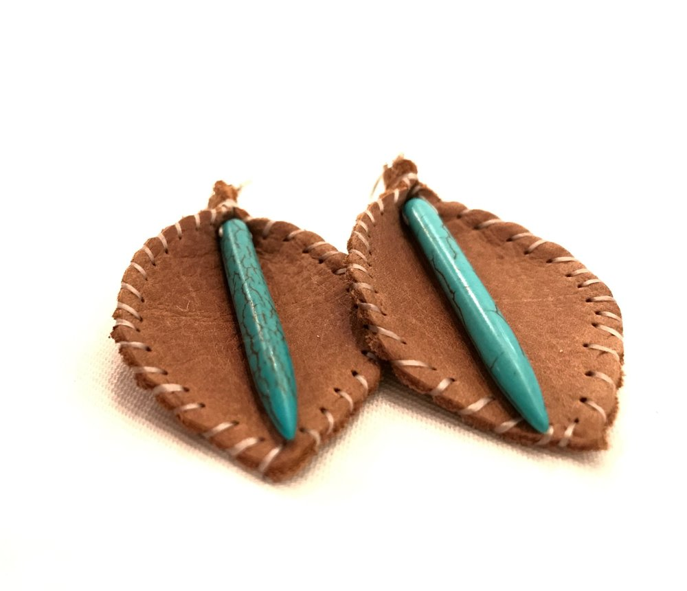hand-stitched leather earrings