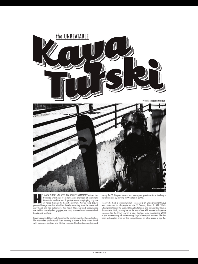 Kaya Turski Profile - featured in Freeskier Magazine November 2011