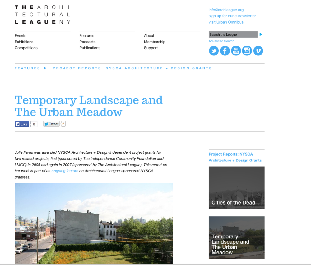 The Urban Meadow featured by Architectural League
