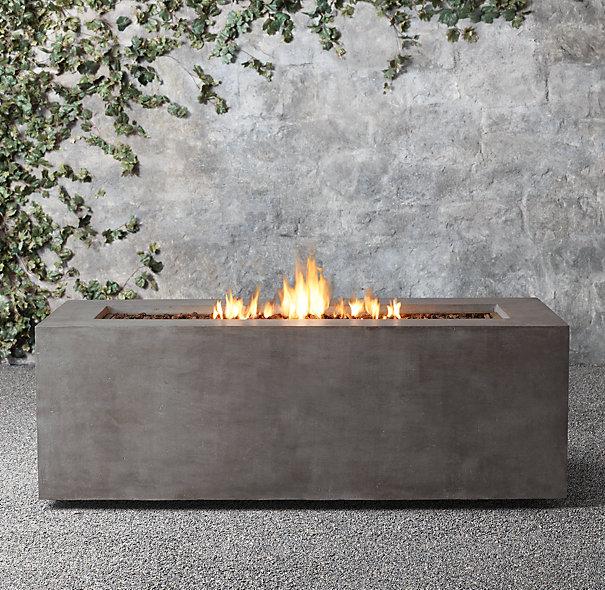 Mendocino Natural Gas Fire Table/$1440 Restoration Hardware Fiberglass concrete Dimensions: L72 x W28 x H25