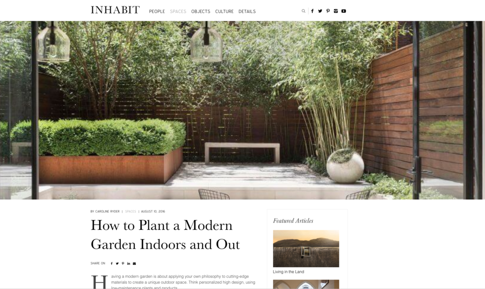 Corcoran's article in Inhabit on recent townhouse garden