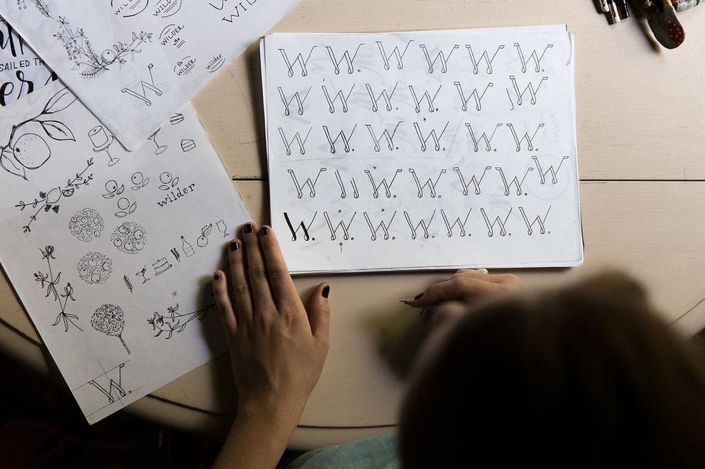 process of logo creation, sketches of logo design