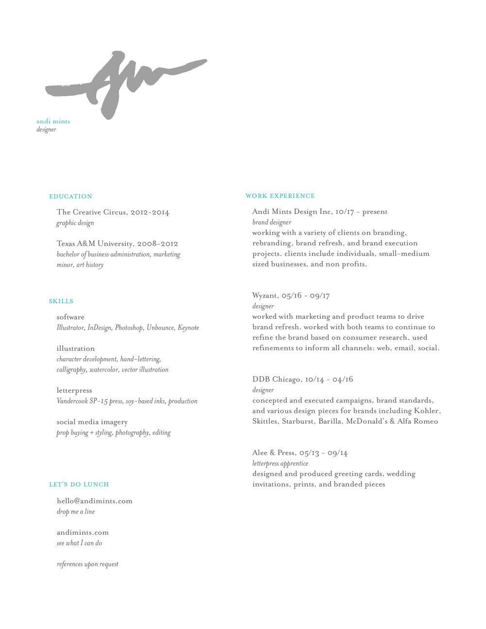 Andi Mints Designer Resume