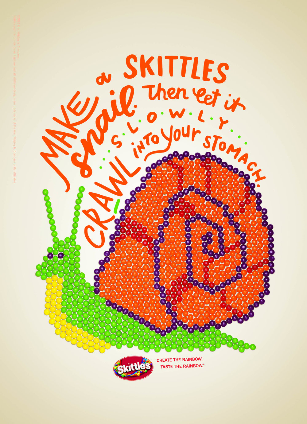 advertisement, skittles client, hand lettering