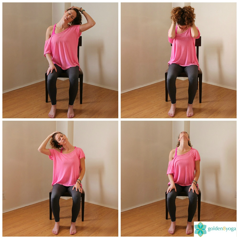 SEATED NECK STRETCH & ROLL  Try this pose if you have tightness or tension in your neck and shoulders. These neck stretches will help ease tension and increase mobility of the neck. If you have cervical spine issues listen to your body on how far to take the stretches.  1. Sit comfortably in a chair with your feet hip width distance and parallel to each other. Sit up tall with your back, neck and head in a straight line and shoulders relaxed.  2. Drop your left ear to left shoulder. Hands can rest on your thighs or you can take your left hand to the top of your head for a little extra weight to deepen the stretch. Make sure your shoulders are drawing away from your ears down your back. Hold for a few breaths then release your hand and gently bring your head back to center.  3. Gently drop your chin to your chest. If you need a deeper stretch clasp your hands and place them behind your head allowing your elbows to drop down towards the floor. Keep your shoulder blades drawing together and down your back for a deeper stretch. Hold for a few breaths then release your hands and gently bring your head back to center.  4. Drop your right ear to right shoulder. Hands can rest on your thighs or you can take your right hand to the top of your head for a little extra weight to deepen the stretch. Make sure your shoulders are drawing away from your ears down your back. Hold for a few breaths then release your hand and gently bring your head back to center.  5. Gently tilt your head back feeling the stretch along the front of your neck. Only tilt back as far as it feels okay for you. If you have any cervical spine issues I would recommend skipping this step. Hold for a few breaths then release your hand and gently bring your head back to center.  6. From here you can gently begin to roll your neck from side to center to opposite side. If you have neck issues I would suggest only doing half neck rolls. Only do full neck rolls if it feels good to you. Do 2-3 neck rolls in each direction. Try this a couple of times a day.
