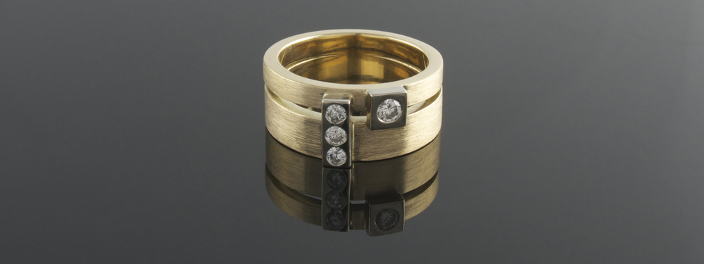 Two tiered recycled yellow gold ring with four punch set diamonds - Eva Dorney Goldsmith