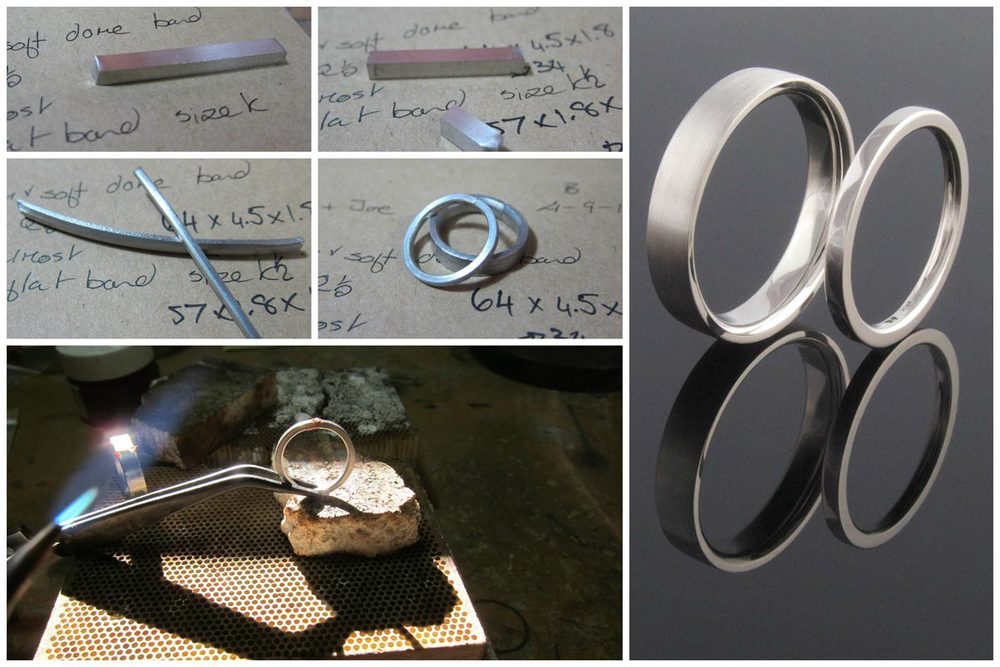Handmade platinum wedding band collage