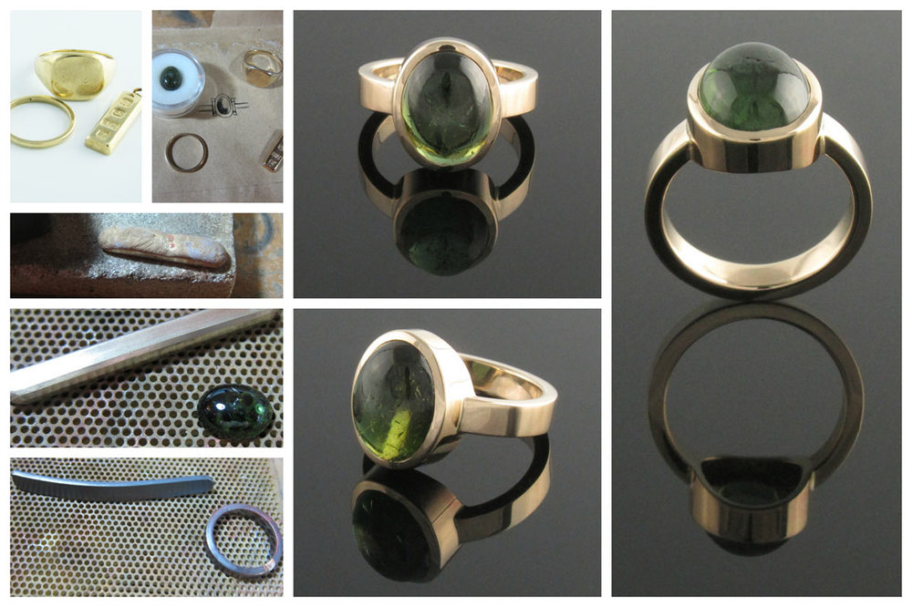 Bezel set green tourmaline dress ring