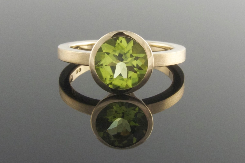 Handmade peridot engagement ring